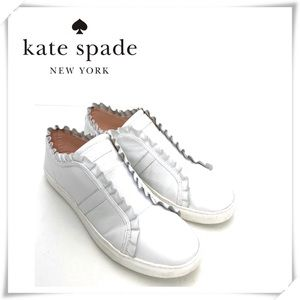 Kate Spade Layce Ruffle Leather Sneaker White